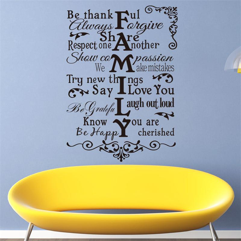 Aliexpress Buy Inspiration Quote Family Warm Happy Share Rlues Sayings Home Decor Wall Sticker Wedding Living Room Decoration Creative Art From
