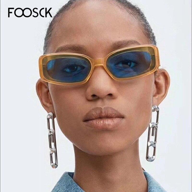 FOOSCK 2019 New Fashion Square Sunglasses Women Brand Designer Retro Mirror Vintage  Eyewear UV400