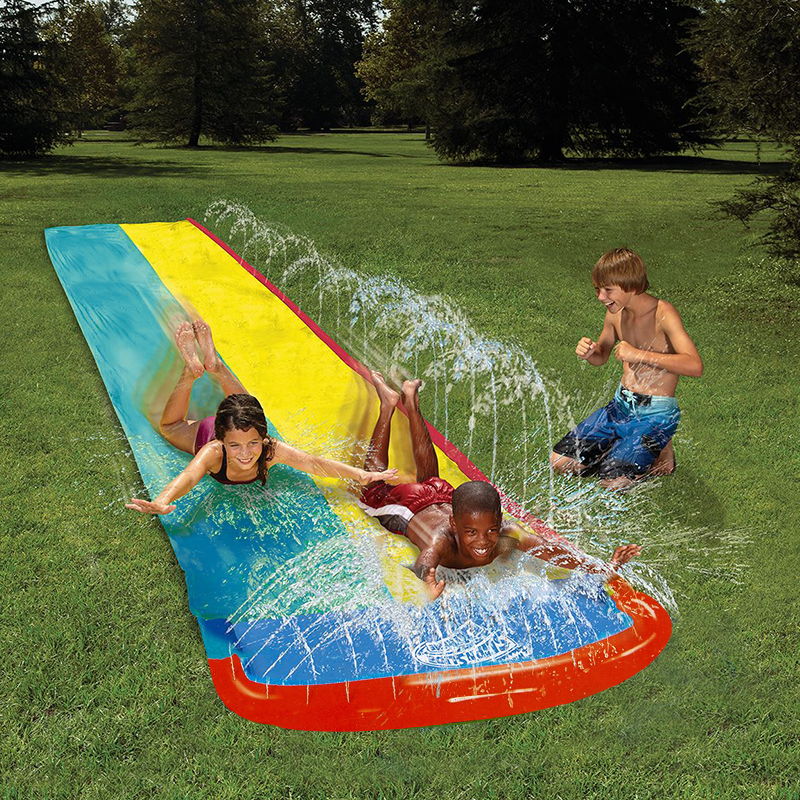 4.8m Giant Surf N Double Water Slide Lawn Water Slides For Children Summer Pool Kids Gam ...