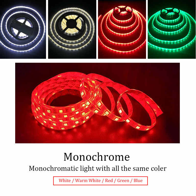 12V 5050 RGB LED Strip Lampu Monokrom DC12V 60LED/M LED Flexible Strip Lampu Tahan Air Pencahayaan Dalam Ruangan 5M 300LED