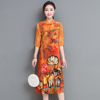 Elegant Vintage Women Dress 2018 New Silk Europe And America Style Improved Cheongsam A Line Print