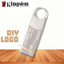 Оригинальный Kingston флеш-накопитель USB 3,0 32 Гб 64 Гб 128 Гб флешки металлические пользовательские DIY логотип дропшиппинг персональный подарок DJ Cle USB