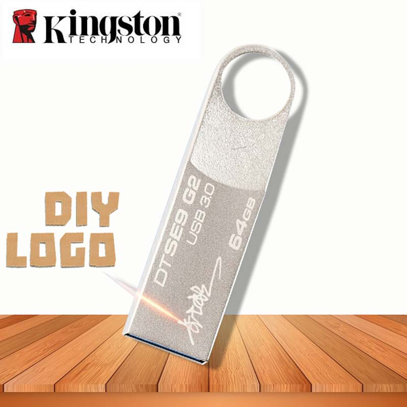 Original USB Flash Drive Kingston 3.0 gb 64 32 gb 128 gb De Metal Pendrive LOGOTIPO Personalizado DIY Dropshipping presente personalizado DJ USB Cle