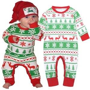 Zielone świąteczne śpioszki dla chłopców piżamy renifer noworodka choinka kostiumy kombinezony dziecięce płatki śniegu bielizna nocna 100% bawełna