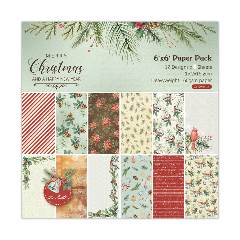 KLJUYP 12 Sheets Merry Christmas Scrapbooking Pads Paper Origami Art Background Paper Card Making DIY Scrapbook Paper Craft