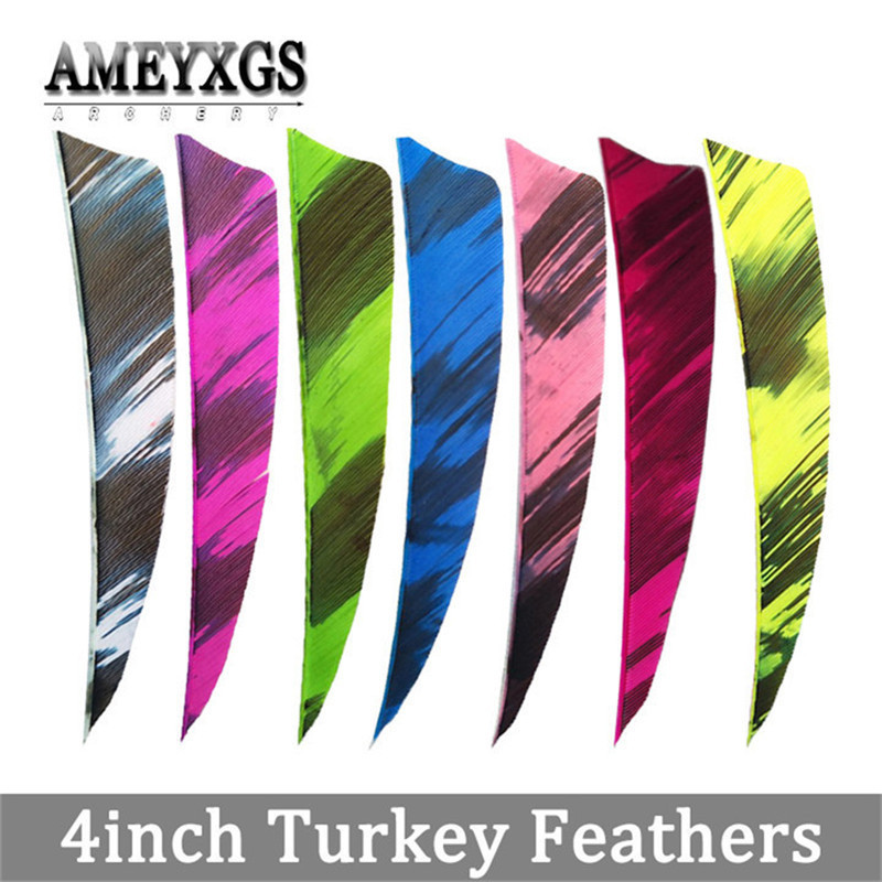 60/100pcs 4inch Natural Arrow Feathers Right Wing Vanes Turkey Feather Shaft DIY For Outdoor Hunting Shooting Accessories