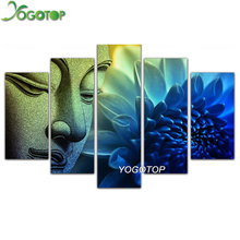 YOGOTOP DIY Diamond Painting Cross Stitch Kits Full Diamond Embroidery 5D Diamond Mosaic Home Decor Buddha 5pcs ML196 yogotop diy diamond painting cross stitch kits full diamond embroidery 5d diamond mosaic home decor two wolf 5pcs ml224