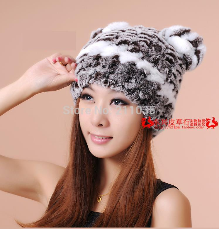 Female Winter Plus Size Elasticity Rex Rabbit Warm Orecchiette   Skullies     Beanies   Fur Hats Ear Protection Thicken Fur Caps