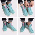CORA WANG 1 Pair Shoe Laces Magnetic 2016 New Fashion Metal No Tie Shoelaces Lazy Lacet Elastic Chaussure Shoestring FF2SL02-2