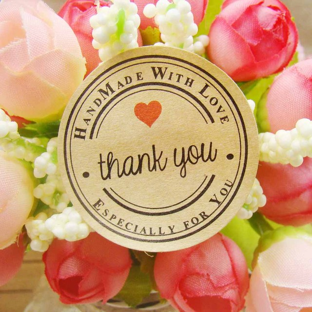 144pcs Thank You love self-adhesive stickers kraft label sticker Diameter 3.5cm For DIY Hand Made Gift /Cake /Candy paper tags