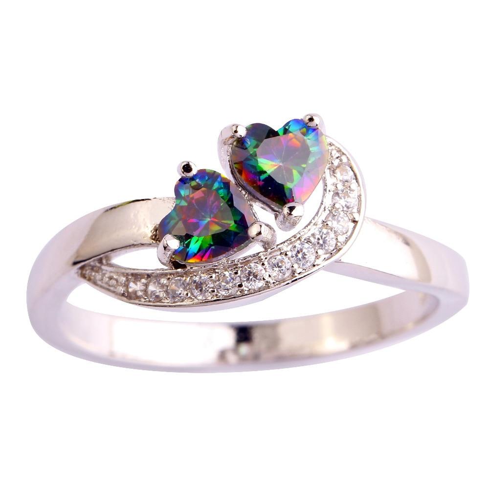 d3db189f5592 AAA CZ cristal joyería de moda multicolor Arco Iris CZ GEMS anillo plateado  tamaño 6 7 8 9 10 11 envío libre