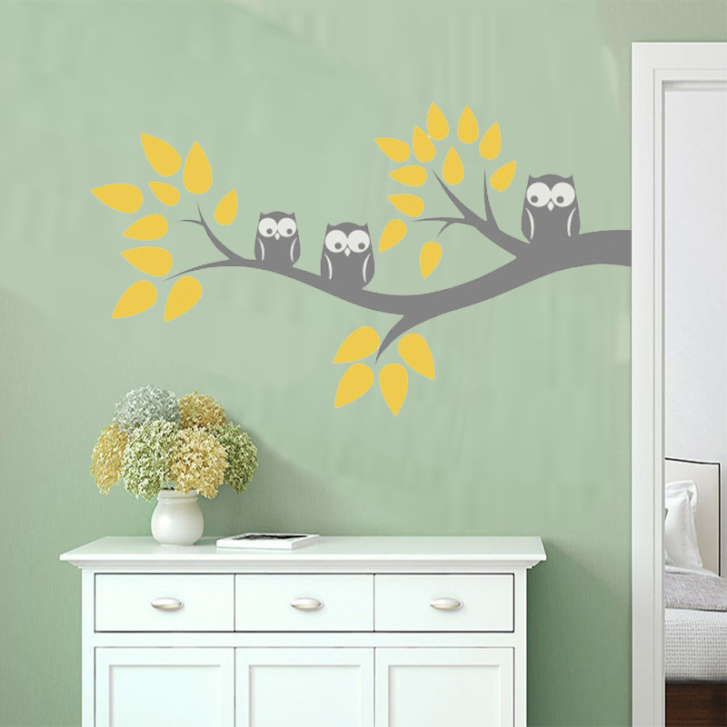 Cute Three Owls Branch Wall Decal Sticker Home Decoration Vinyl Mural - Home Decor - Photo 3