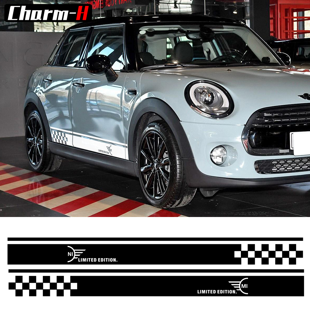 Car Styling Side Racing Stripe Skirt Limited Edition Decal Stickers for MINI Cooper R50 R52 R53 R56 R57 R58 R59 F55 F56 F54 F60 1pair union jack car side door skirt decal sticker decor for mini cooper f54 f55 f56 f60 r55 r56 r60 r61 car styling accessories