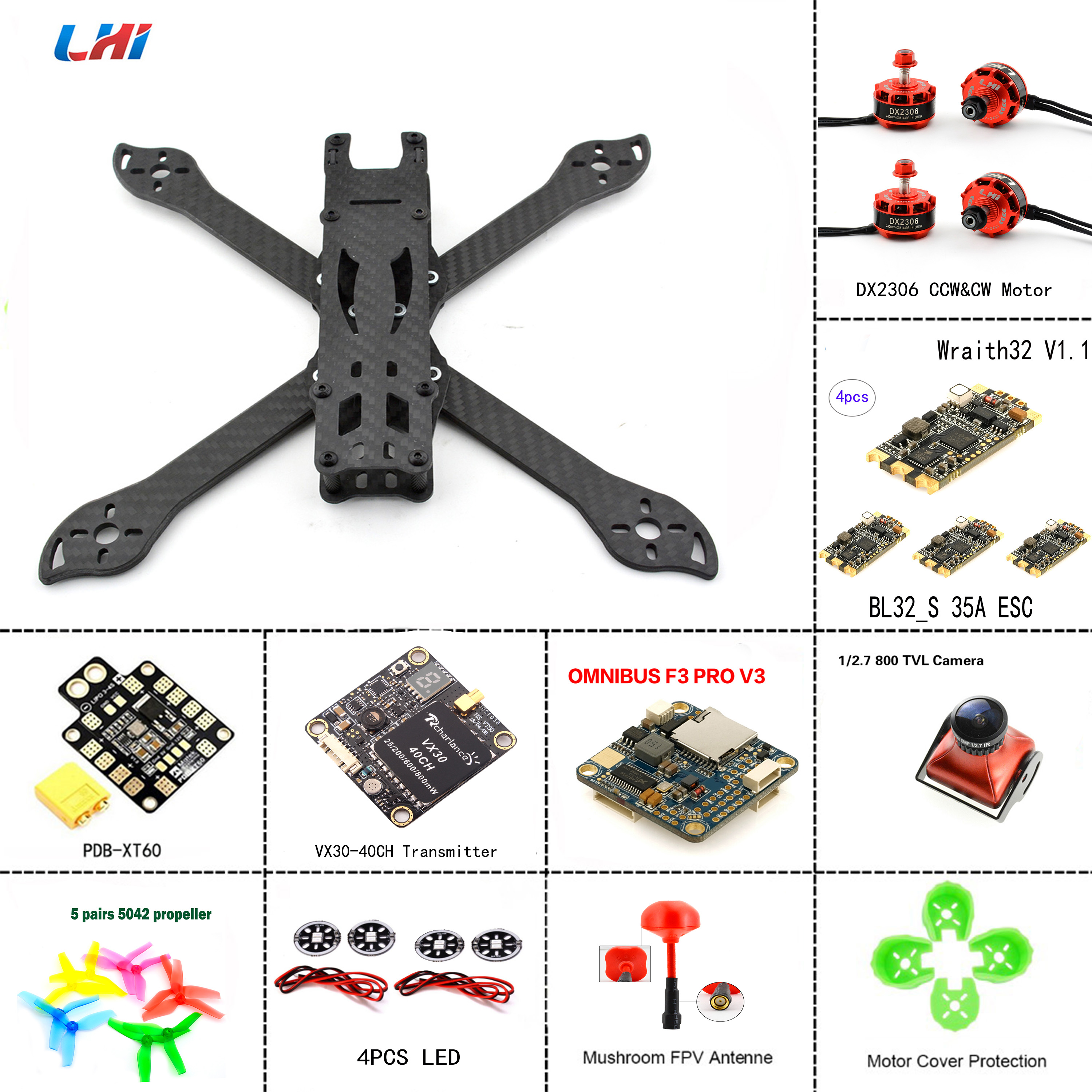 DIY PUDA TureX frame fpv camera quadcopter kit to assemble of omnibus F3 flight controller 2306 brushless motor&Wraith32 35A ESC xxxholic omnibus 6