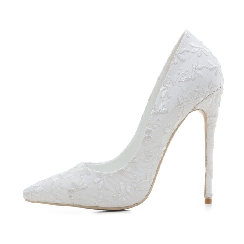CZRBT 2018 New Embroidery Elegant Style Women Wedding Shoes High Heels 12cm Top Quality Handmade Women Pumps with Big Size 1 design laser cut white elegant pattern west cowboy style vintage wedding invitations card kit blank paper printing invitation
