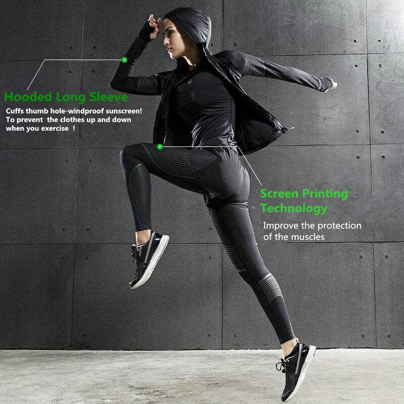 04425eb57c ... Brand 2019 Gym Sports Suits Women's Yoga Clothes Set Running Tights  Sportswear Quick Dry Training Fitness ...