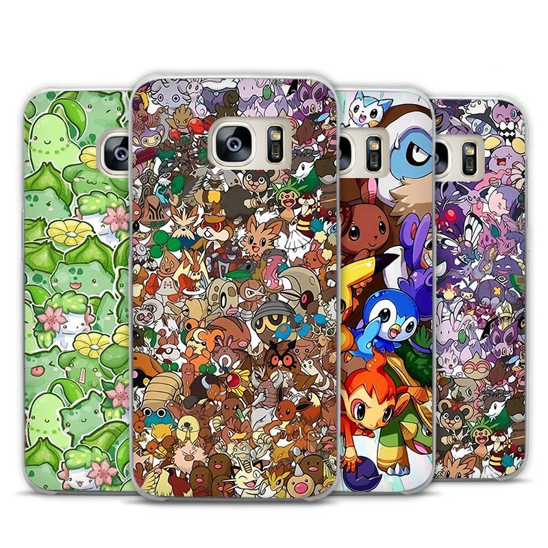 pokemons wallpaper art Transparent Phone Case Cover for Samsung Galaxy S3 S4 S5 S6 S7 S8 Edge Plus Mini