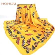 Модный женский шарф, роскошный бренд, желтая бабочка, хиджаб, шелковая атласная шаль, шарфы, платок, квадратный платок, шарфы, обертывания, Новинка