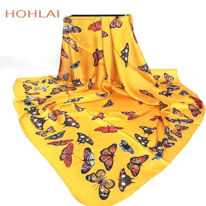 Fashion Women   Scarf   Luxury Brand yellow butterfly Hijab Silk Satin Shawl Scarfs Foulard Square Head   Scarves     Wraps   2018 New