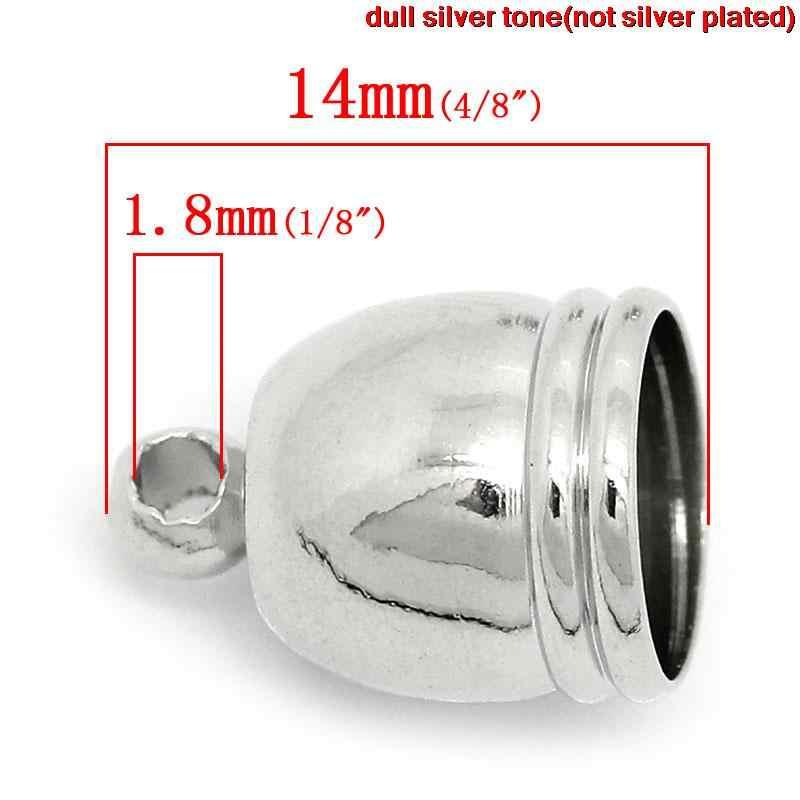 """DoreenBeads miedziany naszyjnik końcówki przewodu zegar srebrny Tone 14mm (4/8 """") x 10mm (3/8""""), 2 szt."""