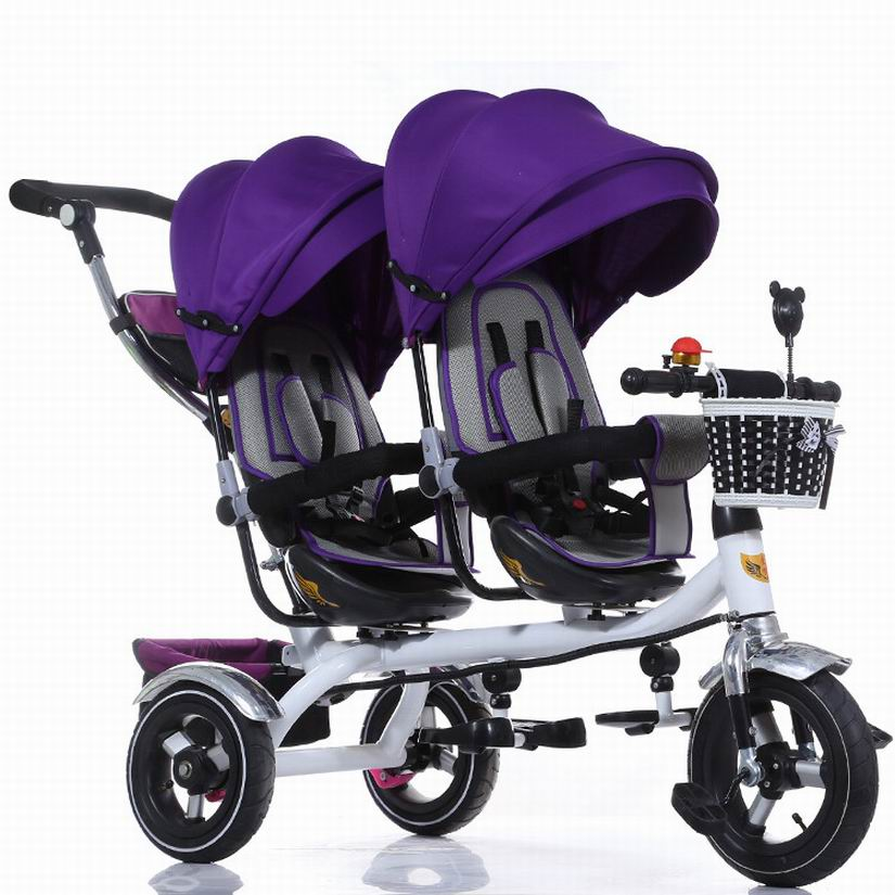 Updated good quality twins child tricycle bike double seats tricycle trolley baby bike baby stroller for 6monthes to 6 years labas child tricycle kids ride on cars for 2 6 years baby outdoor bike