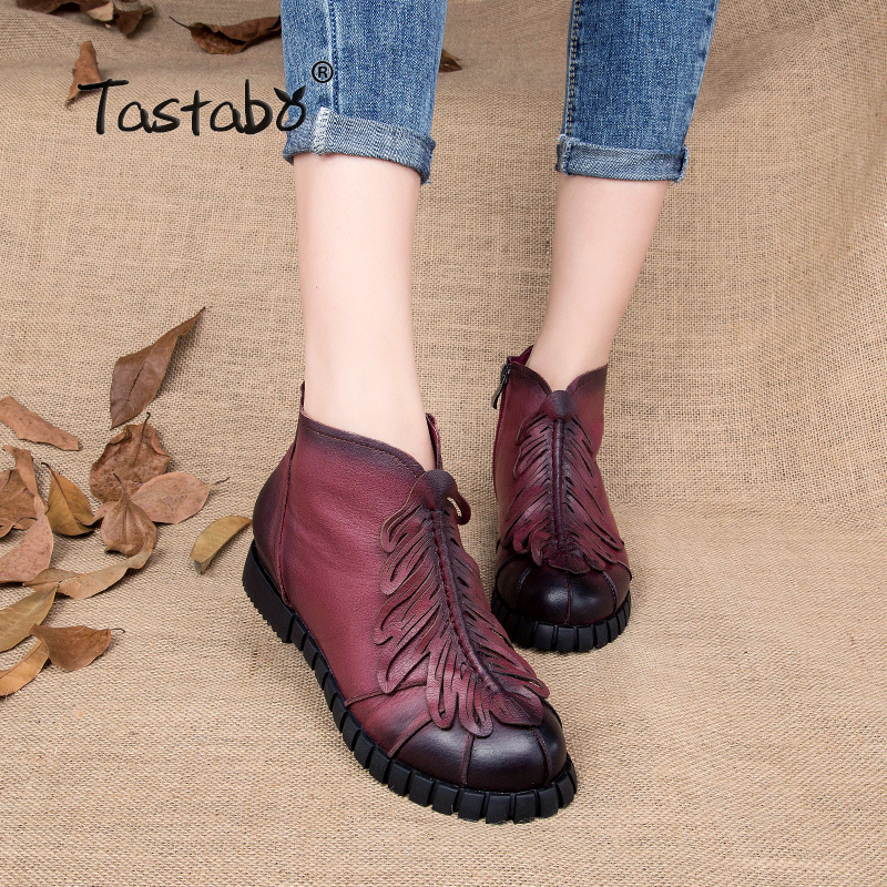 Tastabo Genuine Leather Winter Boots Women Shoes Handmade Ankle Boots For Women Leaf Shape Casual Brown Woman Shoes tastabo handmade ankle boots martin flat boots 100% real genuine leather shoes retro winter snow boots botines mujer women shoe