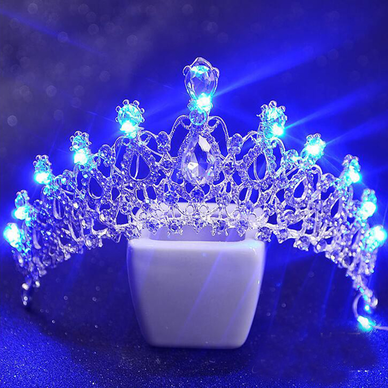 Romantic Women Blue Light Tiara King Crown Rhinestone