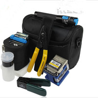 8 In 1 Fiber Optic FTTH Tool Kit With FC 6S Fiber Cleaver And 1MW Visual
