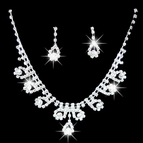 Fashion 2015 hot Women's Bridal Romantic Dazzling Rhinestone Wedding Party Pendant Necklace Teardrop Earrings Bling Jewelry Set 1