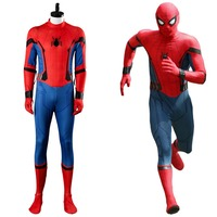 2017 Movie SpiderMan Homecoming Spider man Civil War Jumpsuit Cosplay Costume with mask full set