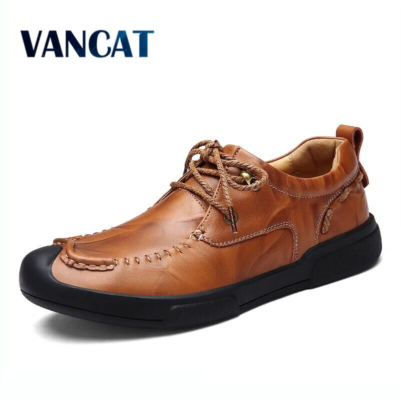 VANCAT  2018 New Fashion Men's Genuine Leather Shoes Men Lace Up Oxford Flats Summer Comfortable Handmade Moccasins Men Shoes hot sale mens italian style flat shoes genuine leather handmade men casual flats top quality oxford shoes men leather shoes