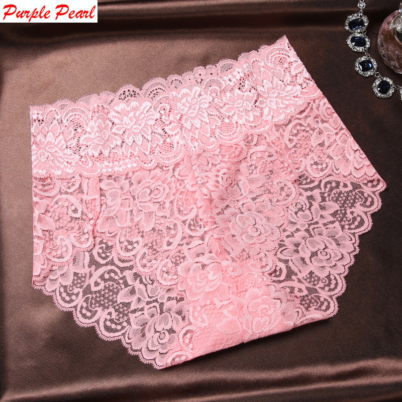 HW039 High quality women sexy lace   panties   luxury transparent large size underwear elegant soft woman briefs plus size Lingerie