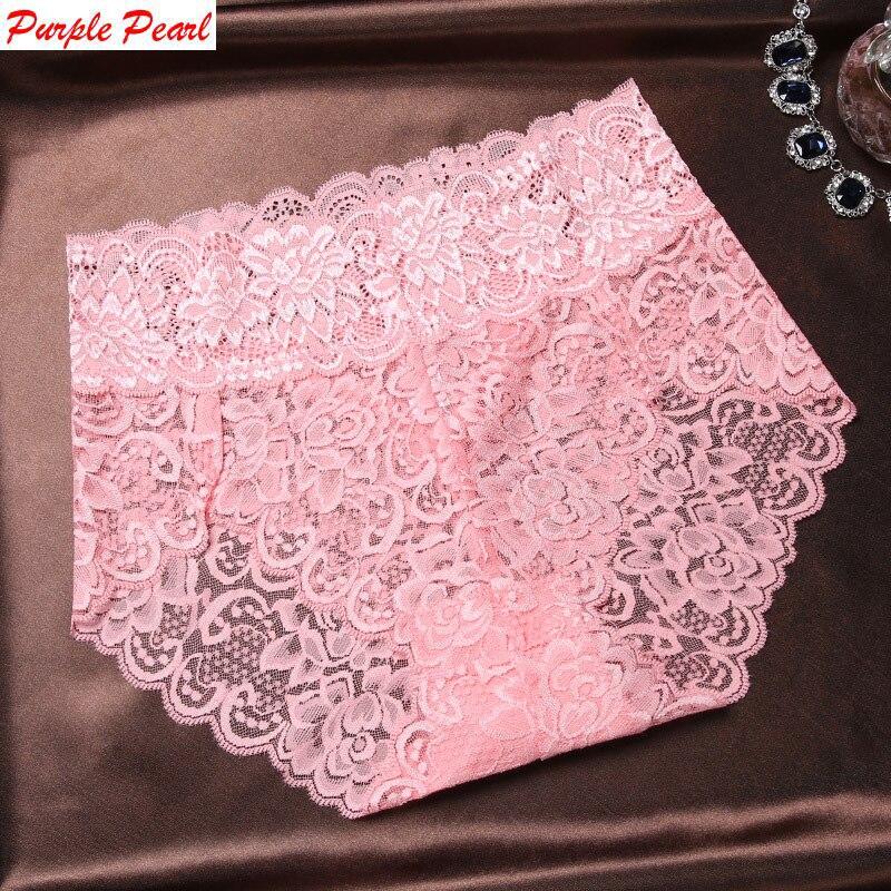 HW039 High quality women sexy lace panties luxury transparent large size underwear elegant soft woman briefs plus size Lingerie