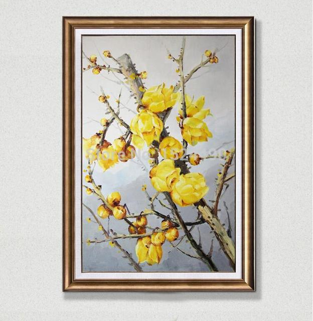 Hand Painting Blossom Wintersweet Oil Painting On Canvas Modern Home Decoration Living Room Wall Art Oil Painting Golden