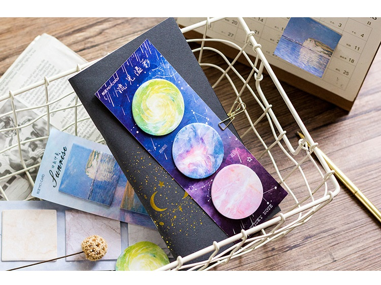 3 pcs Fancy sticky notes Nature Painting Galaxy star memo pad Bookmark sticker post office tools School supplies FM129 in Memo Pads from Office School Supplies