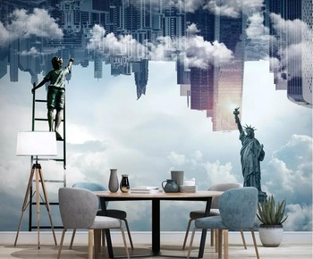 Beibehang 3d wallpaper Modern minimalist city cloud statue TV sofa background wall home decoration living room bedroom wallpaper
