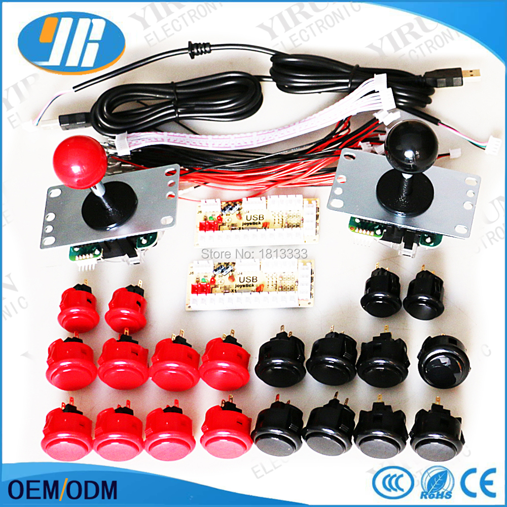 US $68 9 |2 Player kit for PC/ Raspberry pi Controller With Original Sanwa  Button SANWA OBSF Joystick Zero delay USB Jamma arcade games-in Coin
