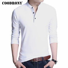 COODRONY Cotton T Shirt Men 2018 New Spring Autumn Long Sleeve T-Shirt Men Mandarin Collar Tshirt Men Fashion Brand Top Tee 7606(China)
