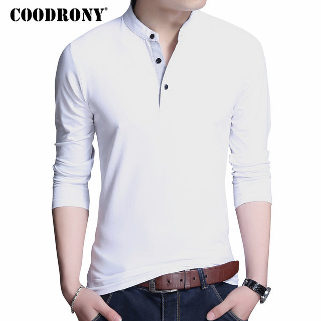 COODRONY Cotton T Shirt Men 2018 New Spring Autumn Long Sleeve T-Shirt Men Mandarin Collar Tshirt Men Fashion Brand Top Tee 7606