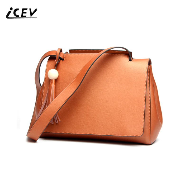 ICEV New Simple Korean Beaded Tassels Women Leather Handbags High Quality Genuine Leather Handbags Ladies Shoulder Cowhide Totes icev new brands simple classic female cow leather designer handbags high quality genuine leather handbags women leather handbags