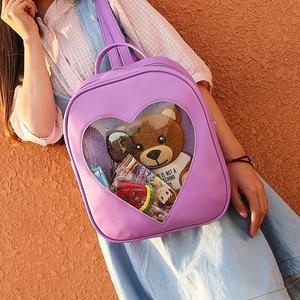 Image 3 - 2019 Summer Candy Transparent Love Heart Shape Backpacks Harajuku School Backpack Shoulder Bags For Teenager Girls Book Bag