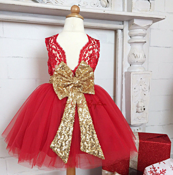 Online Shop Cute red knee length lace beautiful flower girl dresses ...