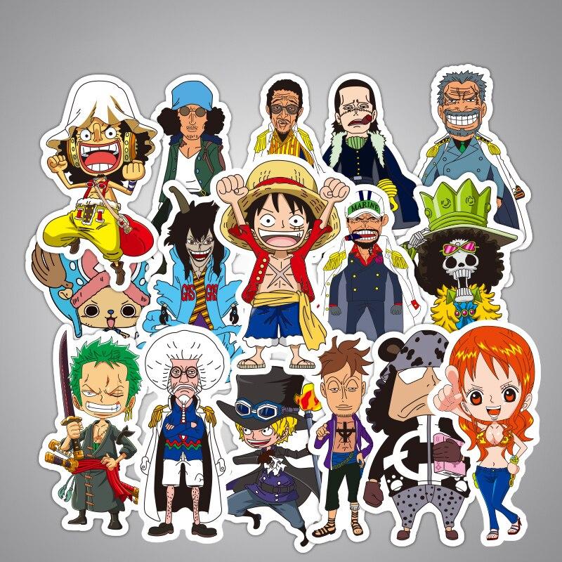 48 Pcs/ One Piece Anime Sticker Toys Fashion Cartoon Kids Stickers Funny Luggage Laptop Skateboard Decal Graffiti Toy Stickers