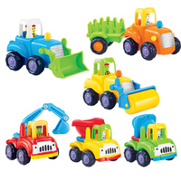6 Sztuk/partia Dziecko Zabawki Koparka Ciężarówka Bezwładności Samochodu Przeciągnij Bulldozing Konkretną Maszynę Karetki