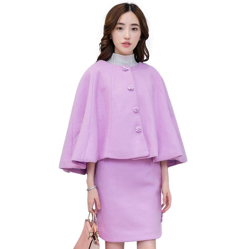 Women Cape Coat And Slim Skirt Two-Piece Clothing Set Autumn New Style Design Dress Woolen Cloth Fashion Suits Vestidos S - XL