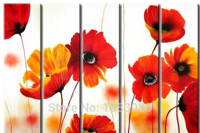 Hand painted abstract red poppy flower paintings on canvas 5 panels hand painted abstract red poppy flower paintings on canvas 5 panels modern wall art set picture mightylinksfo
