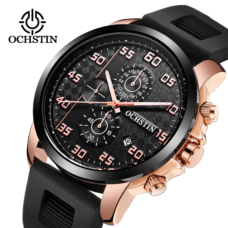 fa4b2339146 OCHSTIN Brand Quartz-watch Male Silicone Band Mens Watches Gift Watch  Analog Sports Wristwatch for Men military Clock