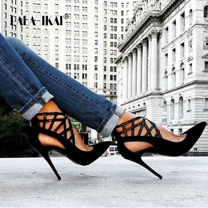 LALA IKAI Troupeau Zip Talons hauts Sandales 11.5 cm Solide De Mode Ajouré Couverture Talon Sandales Mince Talon Femme Chaussures 014C1698 -5