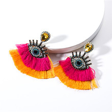 9Colors Resin Eyes With Double Threads Tassel Dangle Earrings for Women Fashion Jewelry Bohemian Statement Accessories