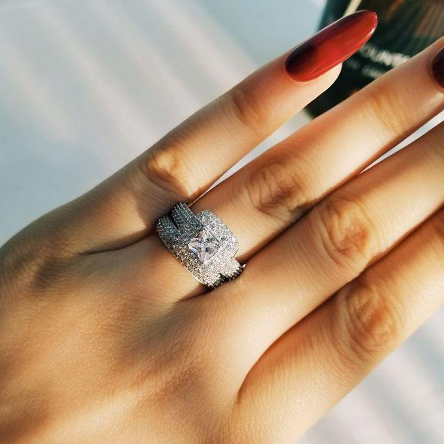 Moonso العصرية الفاخرة 925 فضة خاتم الزواج مجموعة الفرقة للفتيات الزفاف والنساء السيدات الحب زوجين زوج مجوهرات R3400 2